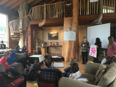 West Coast Environmental Law staff and Indigenous partners gather to discuss Indigenous environmental laws at the Kvai River Lodge in the Great Bear Rainforest, in the heart of Heiltsuk Nation territory.